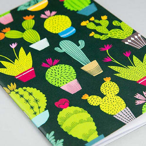 Dark notebook with bright coloured cacti and succulent design made by Maggie Magoo Designs
