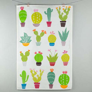 White tea towel with large bright coloured cacti and succulent design made by Maggie Magoo Designs