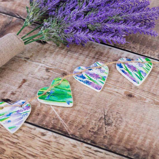 Cornucopia Clay lavender design clay heart garland