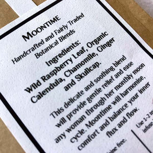 Moontime organic herbal tea ingredients label