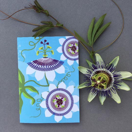 Greetings card of the exotic flowers of Passiflor or Passionfruit designed by Alison Bick