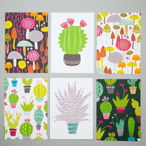 Set of six bright postcards with cacti and fungi design made by Maggie Magoo Designs