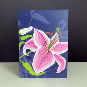 A bold and beautiful Stargazer Lily greetings card designed by Alison Bick