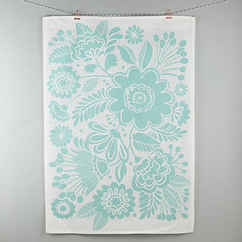 Maggie Magoo teal floral tea towel on white background