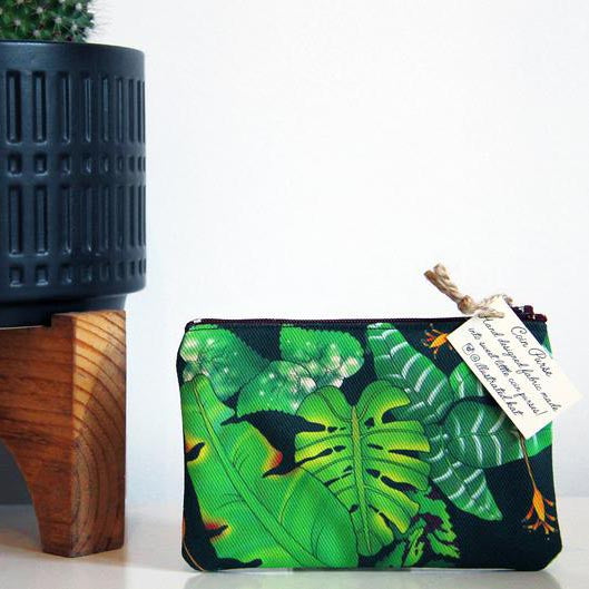 Tropical leaves coin purse