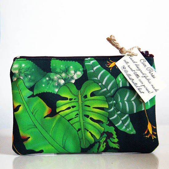 Illustrated Kat Tropical Leaves coin purse