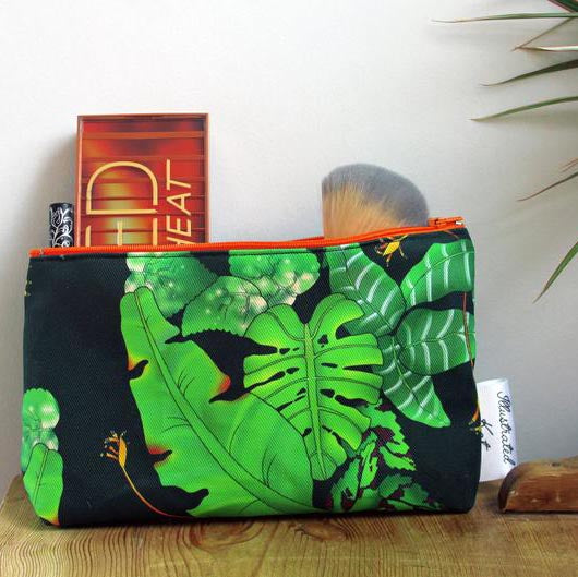 Illustrated Kat Tropical Leaves makeup bag