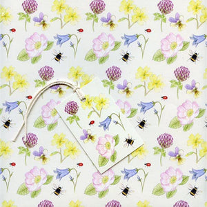 Wildflower design gift wrap paper and tags by RieDesigned