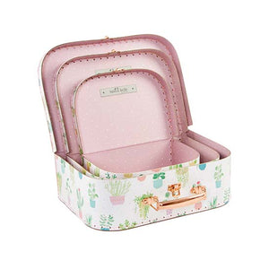 Set of 3 open suitcases with pastel cactus design