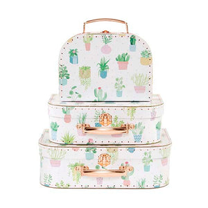Set of 3 suitcases with pastel cactus design