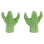 Front view of green stoneware cactus salt and pepper set