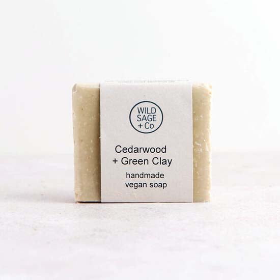 Cedarwood and green clay soap bar with label