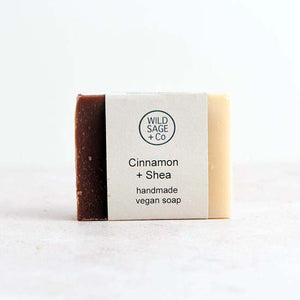Cinnamon and shea vegan soap with label