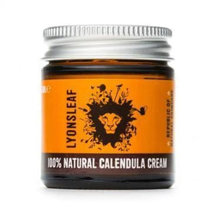 Calendula cream  in glass jar and metal lid made by Lyonsleaf Republic of Natural Skincare