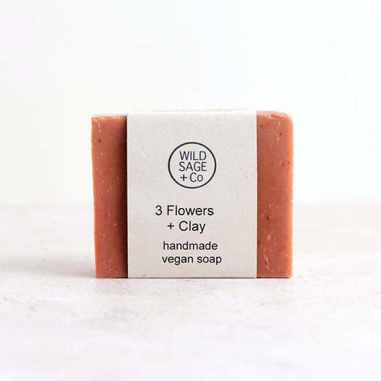Vegan Three Flowers and Clay soap with label