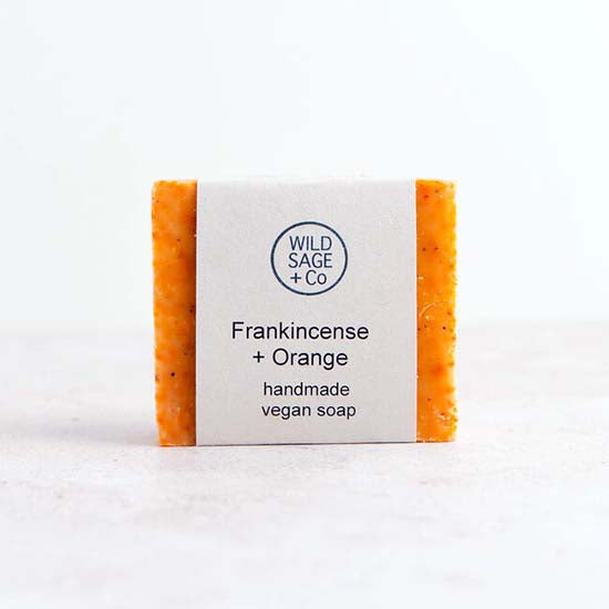 Frankincense and orange soap with label
