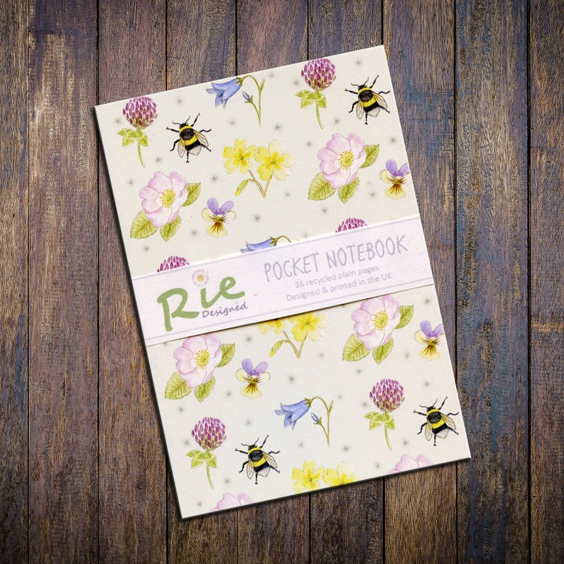 British wildflowers and bumblebee design notebook