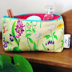 Illustrated Kat Idyllic Spring floral makeup bag