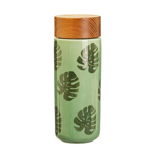 Monstera leaf ceramics drinks bottle with a bamboo lid