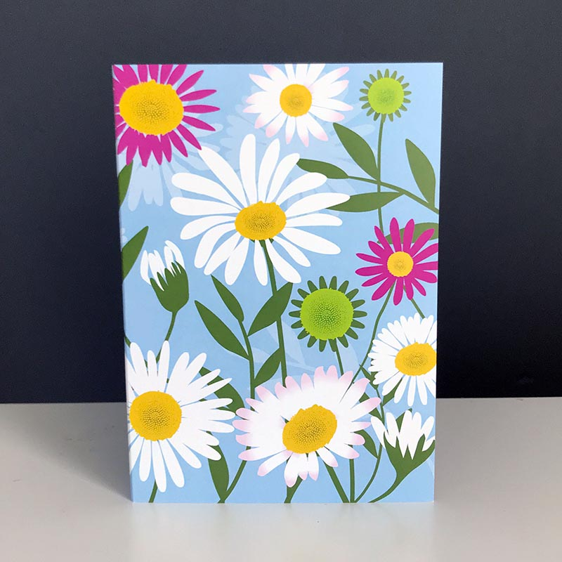 A pretty greetings card with pink and white flowers of the Mexican fleabane daisy designed by Alison Bick