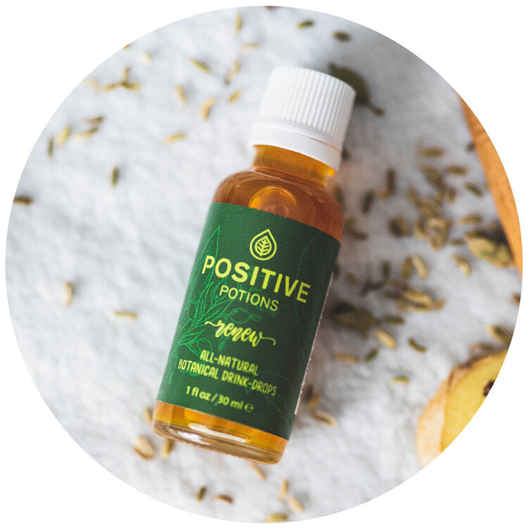 Renew botanical drink drops with dark green label made by Positive Potions