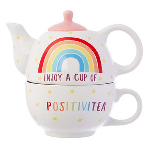 Rainbow Positivitea teapot and cup set stacked