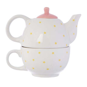 Rainbow Reverse of Positivitea teapot and cup set