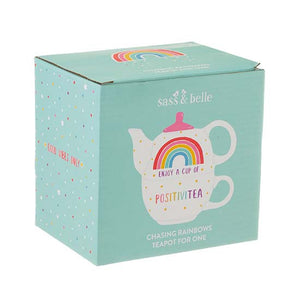 Rainbow Positivitea teapot and cup set in a box