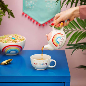 Rainbow Positivitea cup and teapot set in the home