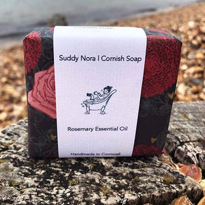 Rosemary essential oil soap on the beach