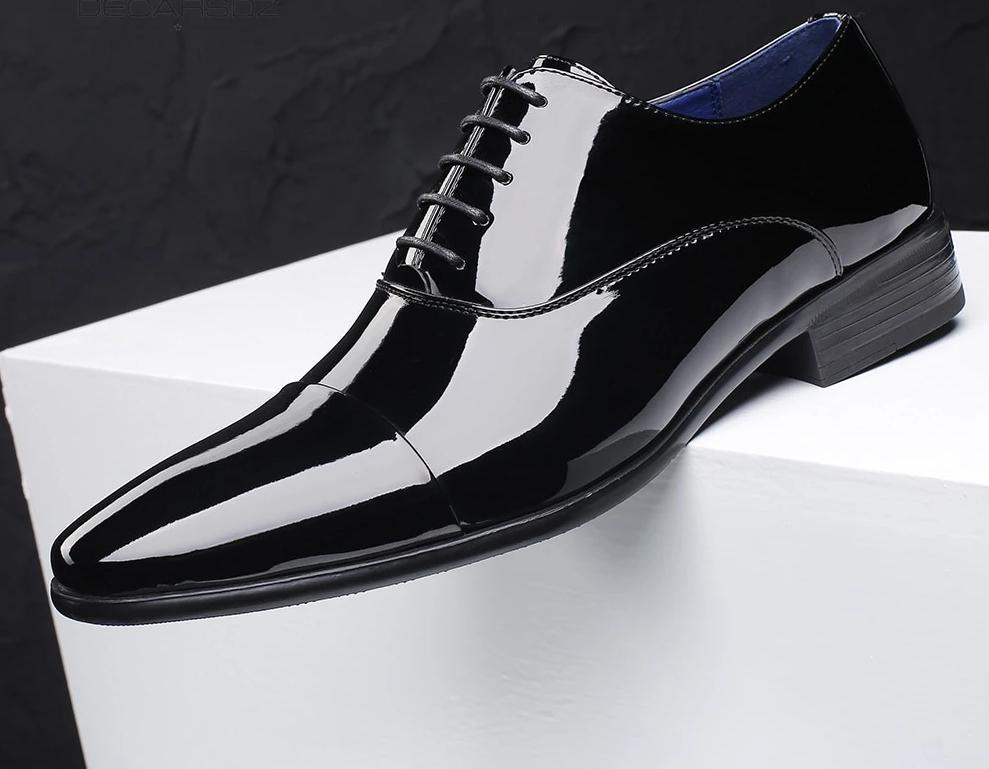 New Mens Wear Shiny Black Premium Design Quality Oxford Formal Shoes Funkytradition