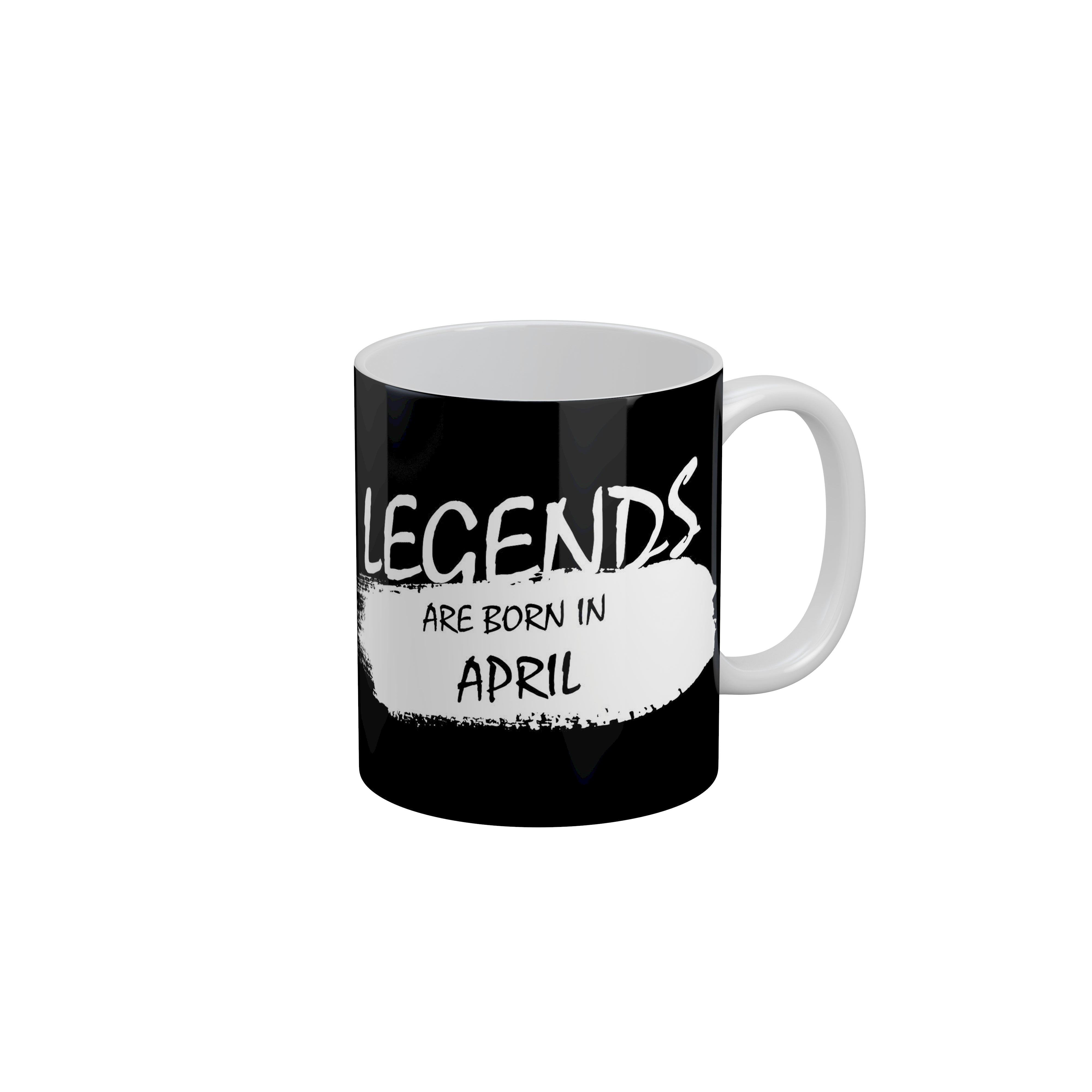 FunkyTradition Legends Are Born In August Black Birthday Quotes Ceramic  Coffee Mug, 350 ml