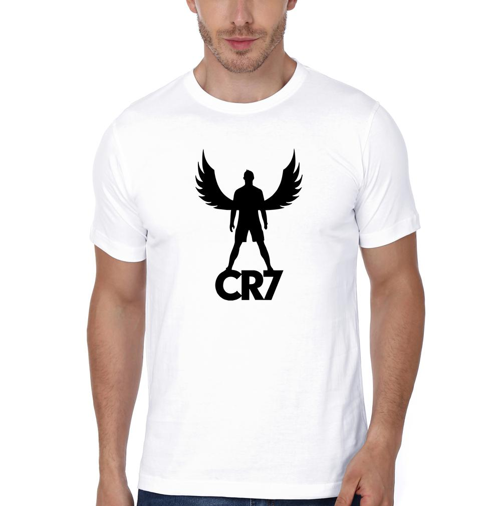 factory authentic c4ed7 b602f FunkyTradition White Round CR7 Cristiano Ronaldo Men Half Sleeves T-Shirt