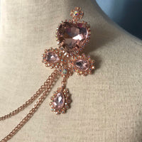 Rose Gold Crystal Heart Brooch