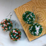 Green Carnation Pom Earrings