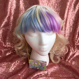 Blonde Wig with Rainbow Bangs