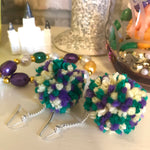 Mardi Gras Pom Earrings