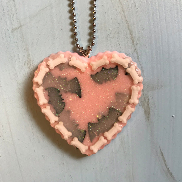 Bones and Bats Heart Necklace
