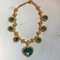 Blue and Gold Crystal Heart Necklace