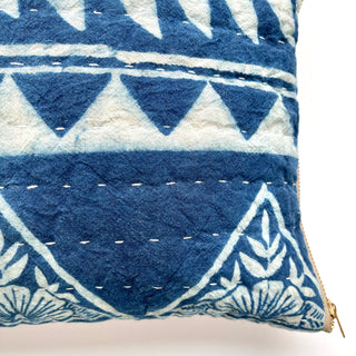 Hand Block Printed Quilted Lumbar Pillow
