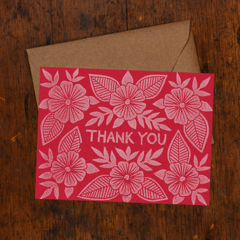 """Thank You"" Block Printed Greeting Cards"