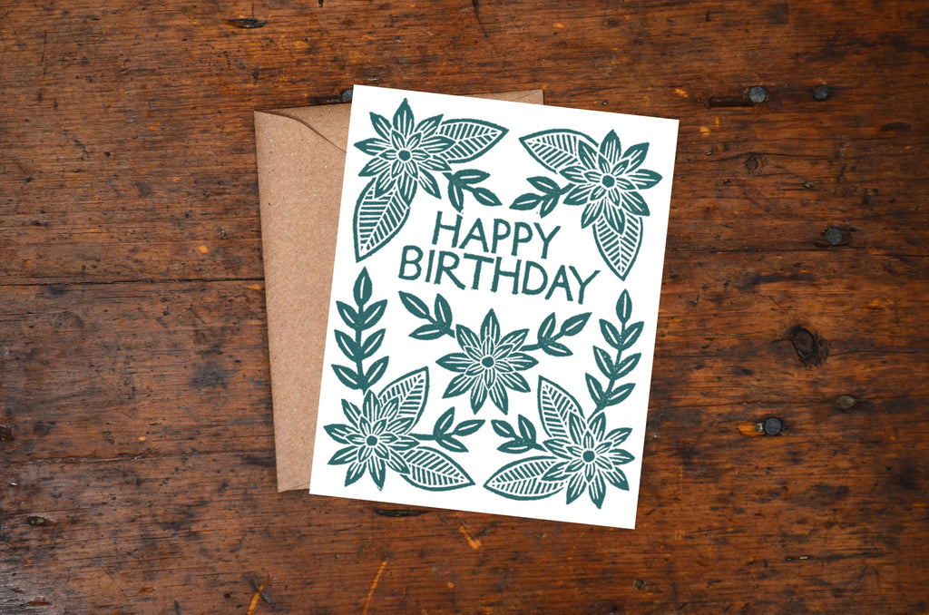 """Happy Birthday"" Block Printed Greeting Cards"