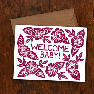"""Welcome Baby"" Block Printed Greeting Cards"