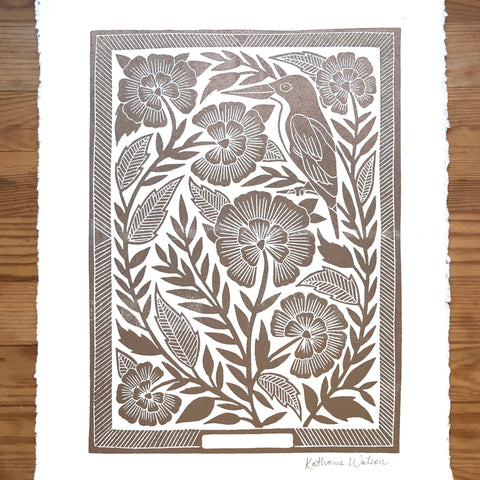 Hand Block Printed Gold Art Print