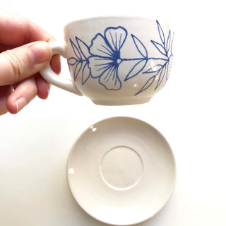 Hand Painted Ceramic Espresso Mug and Saucer
