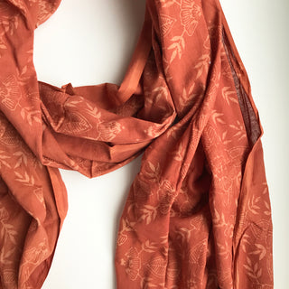 SALE - Hand Block Printed Cotton Scarf with Natural Dye