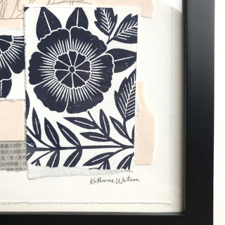 Katharine Watson Framed Block Printed Collage - II