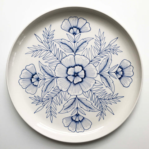 Hand Painted Large Ceramic Platter