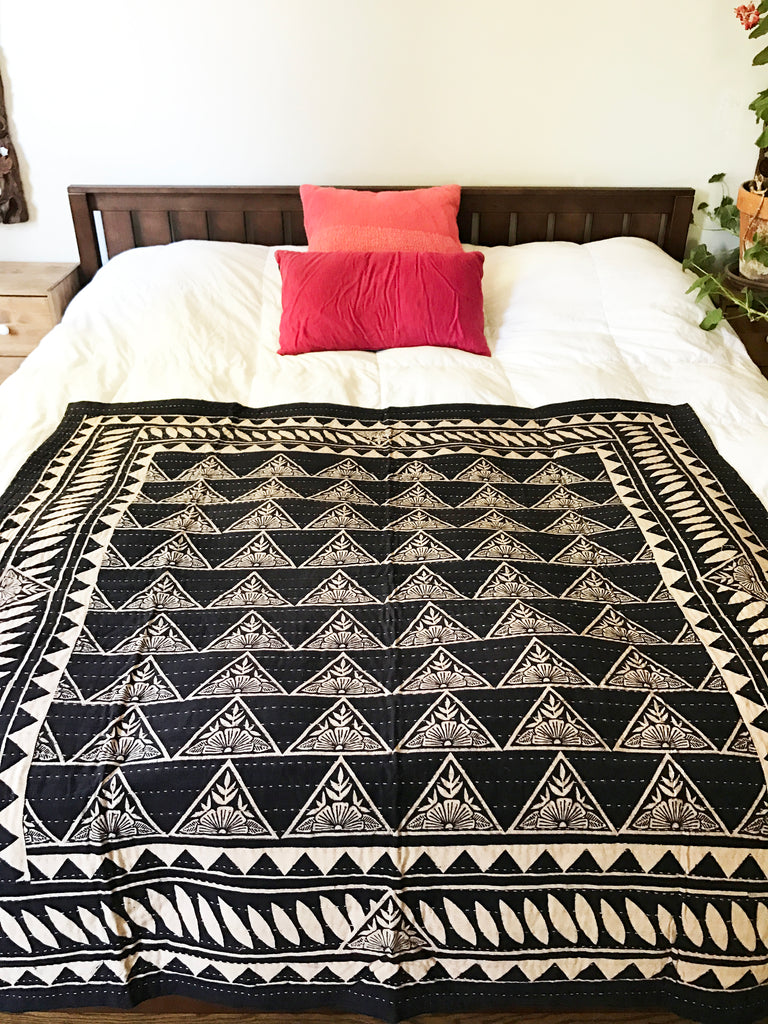 Hand Block Printed Quilt with Natural Dye - Black
