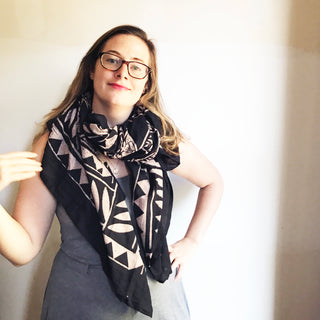 Hand Block Printed Cotton Scarf with Natural Dye - Black